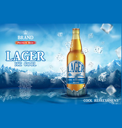 Lager light beer ads realistic premium beer in vector
