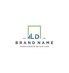 Letter ld square logo finance design vector