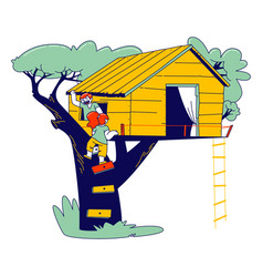 little children climbing on tree house at home vector image