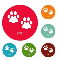 Lynx step icons circle set vector
