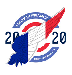 made in the france badge with france flag on wing vector image