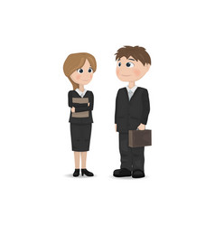 Man and woman talking businessman teacher vector