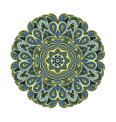 Mandala doodle drawing round ornament relax olive vector