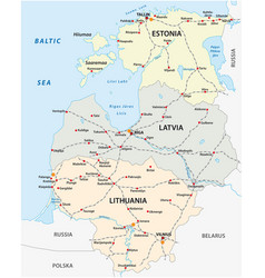 Map railroad tracks in baltic states vector