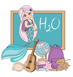 mermaid school school autumn sea vector image