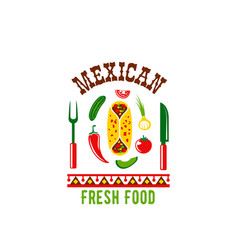 mexican cuisine restaurant cafe menu icon vector image