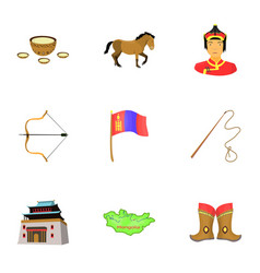 Mongolian national characteristics icons set vector