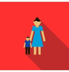 Mother and son icon flat style vector image