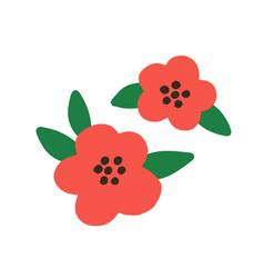 mugunghwa korean flowers with leaf rose vector image