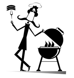 Mustache comic cook isolated vector