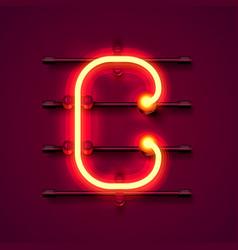 neon font letter c art design signboard vector image