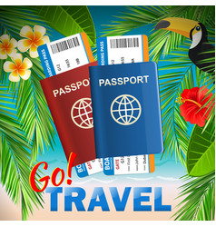 Passport with airline tickets on tropical sea vector