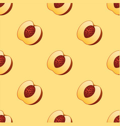 peach fruit slice seamless pattern realistic 3d vector image
