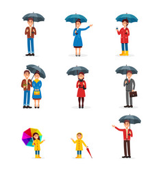 People with umbrellas set man woman and kids vector