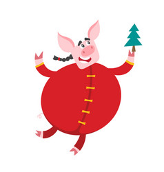 Pig in chinese clothes with christmas tree vector