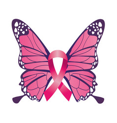 Pink ribbon with butterflie breast cancer vector