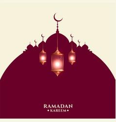 Ramadan kareem greeting card with arabic lamps vector