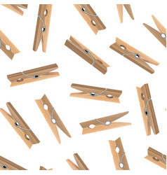 realistic detailed 3d wooden clothespins seamless vector image