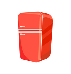 Red refrigerator isolated icon vector