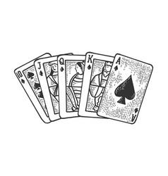 royal flush sketch engraving vector image