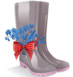 Rubber boots with bouquet primrose vector