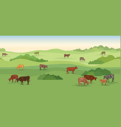 Rural dairy farm landscape with cows over vector
