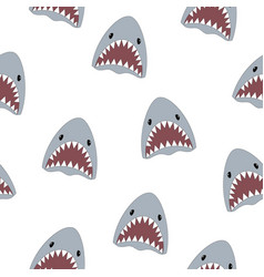 Seamless pattern cute shark isolated on white vector