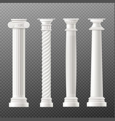 set antique columns or pillars realistic vector image