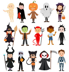 set children in costumes for halloween vector image