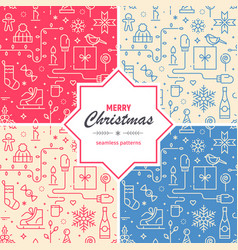 set christmas and new year seamless patterns vector image