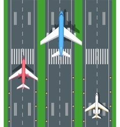 Set of Aviation Airplanes on Runways vector