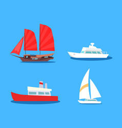 Set of sailing and motor vessels icon vector