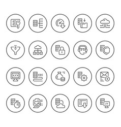 set round line icons hosting vector image