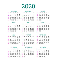 Simple classic calendar layout for 2020 year vector