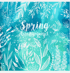 Spring background with sketches plants vector