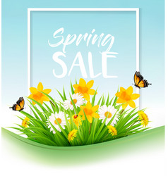 spring sale background with grass flowers and a vector image