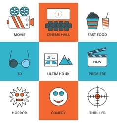 Stock linear icon movie vector