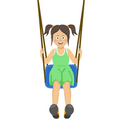 Teenager girl riding a swing outdoors vector