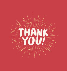 thank you greeting card with hand drawn vector image