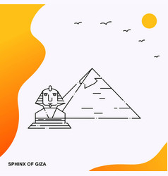 Travel sphinx of giza poster template vector