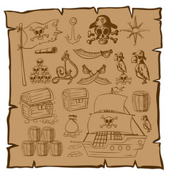 Treassure map with pirate symbols vector