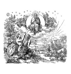 Vintage drawing biblical world and garden of vector