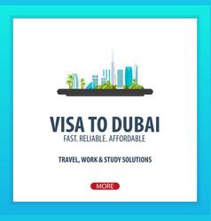 Visa to dubai travel to dubai document for vector