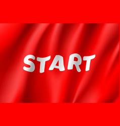 waving start flag red field vector image