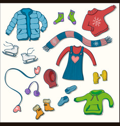 winter clothing set of collection vector image
