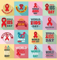 World aids day logo set flat style vector