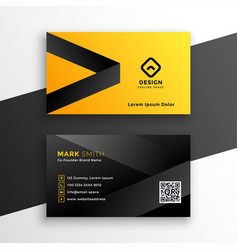 yellow and black modern business card design vector image