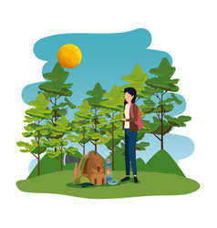 Young woman in camping zone vector
