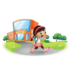 A cute student going home from school vector image vector image