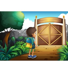 A young boy going to the school vector image vector image